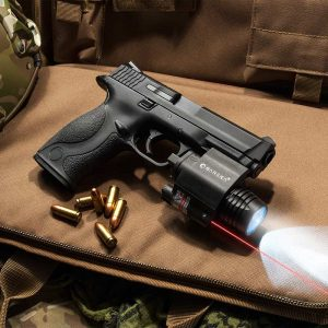 The Barska red laser and 200Lumnbe torch combine a tactical gun light with a red dot laser. This makes aiming at night much easier thanks to the 200lumen gun light.