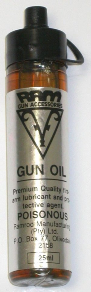 Ram gun oil. Used in cleaning kits as a gun lube.