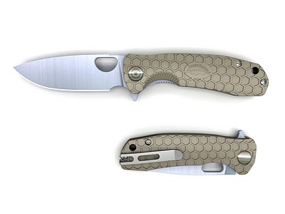 Honey Badger tan folding knife